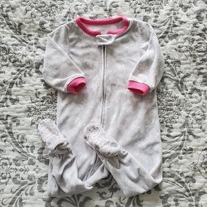 Carter's Grey Fleece Zip Up Footed Pajama Sz 12M